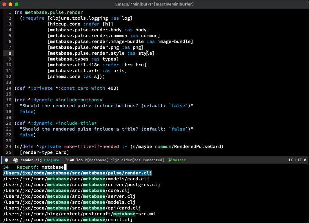 使用counsel-recentf查找曾经访问过的metabase目录下的代码